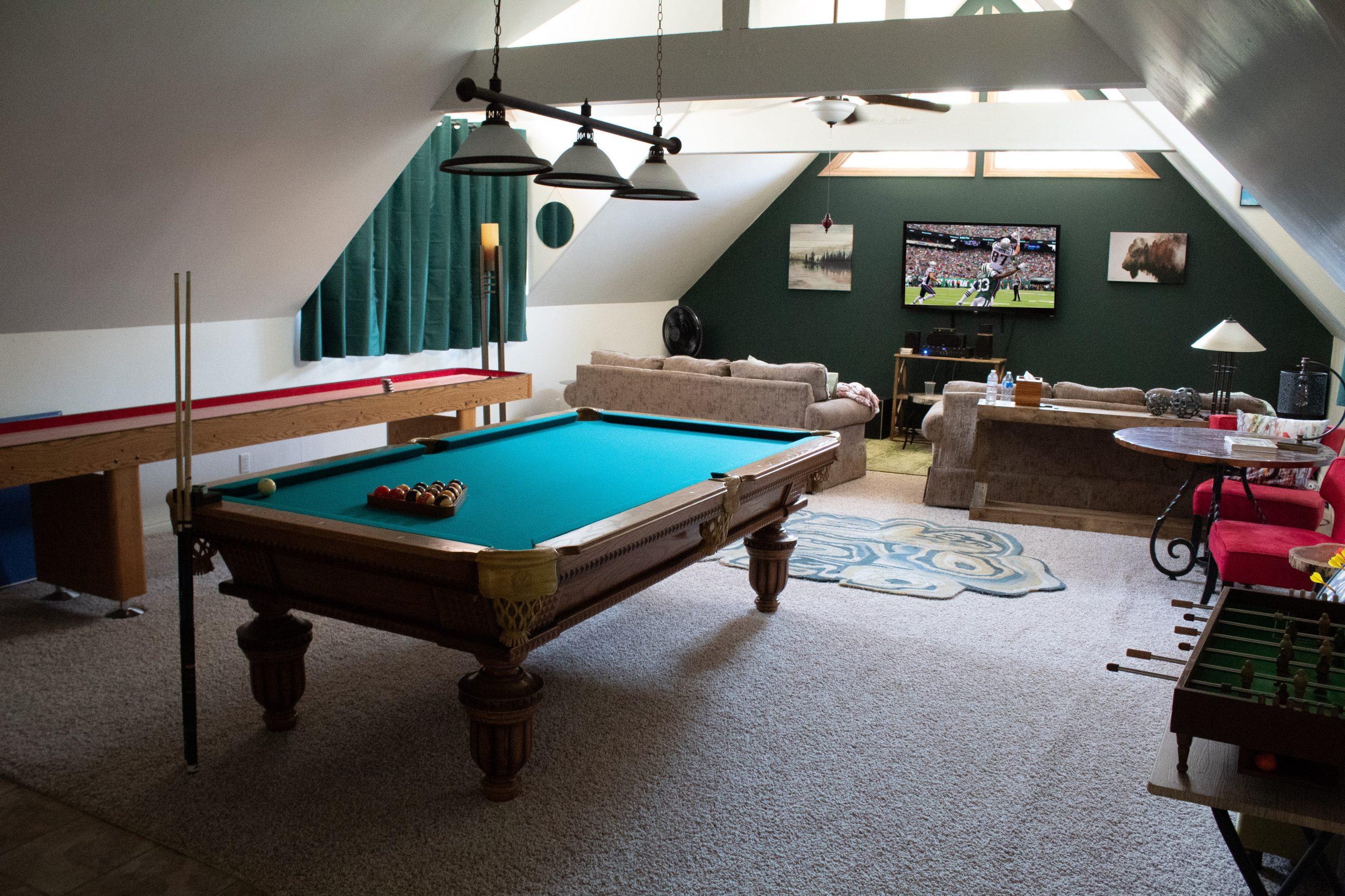 game day home setups Pool Table and TV